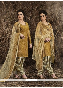 Glowing Net Mustard Punjabi Suit