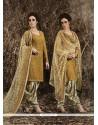 Glowing Net Mustard Punjabi Suit