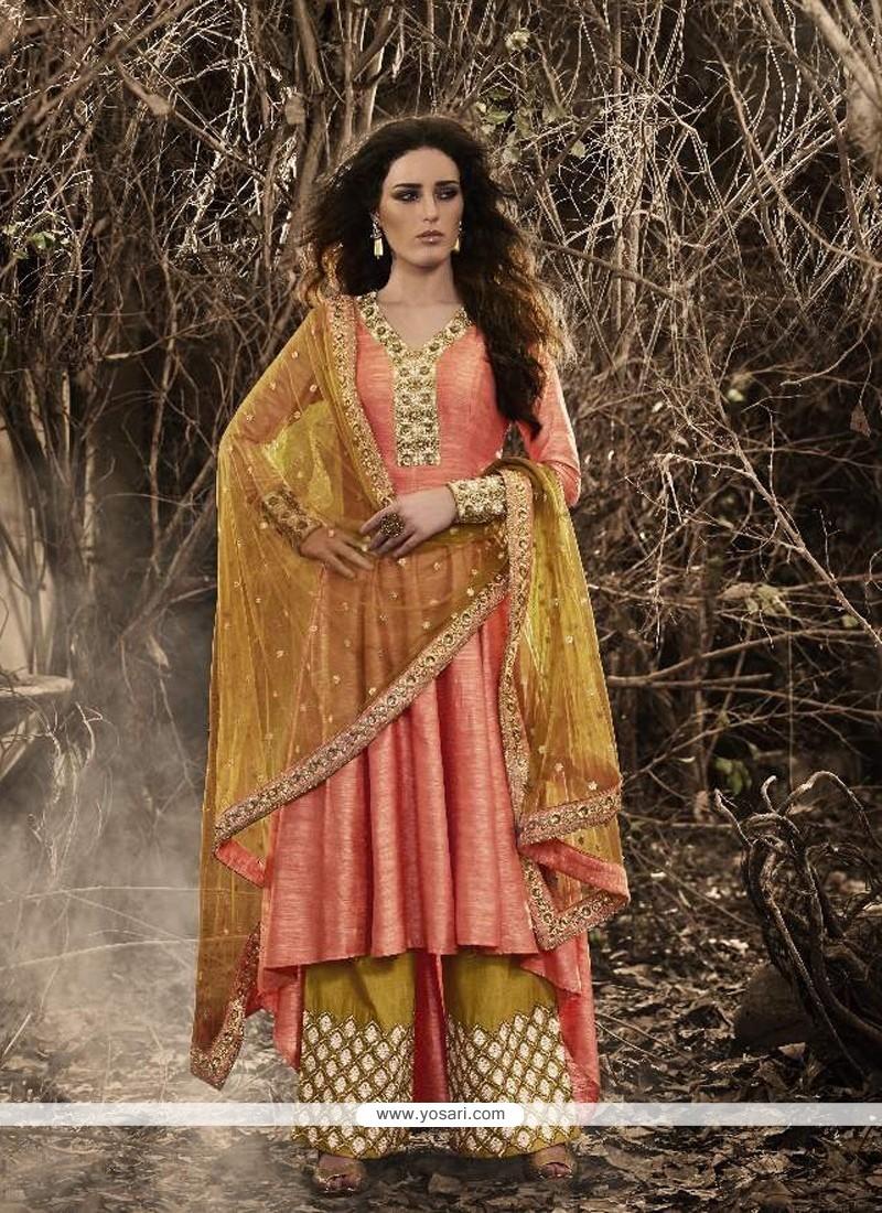 Pristine Bhagalpuri Silk Mustard And Rose Pink Resham Work Designer Palazzo Salwar Kameez