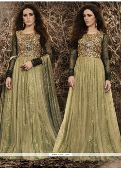 Zesty Resham Work Beige Designer Floor Length Suit