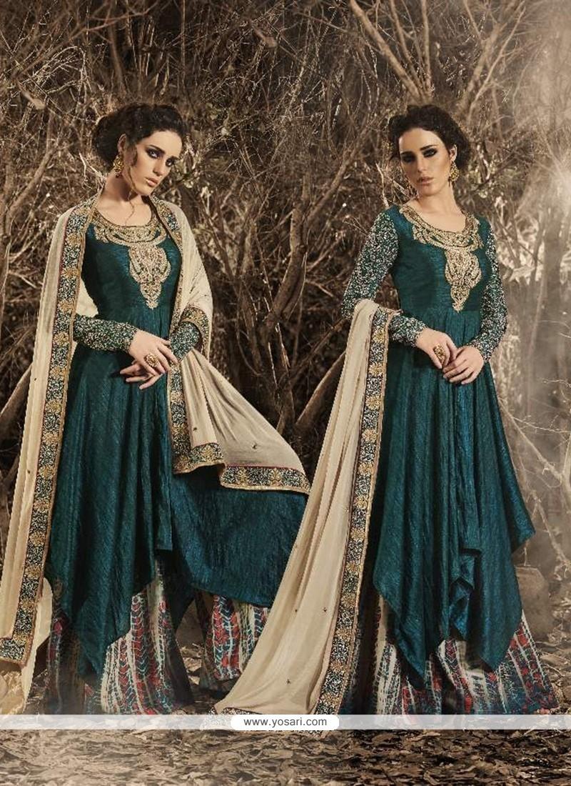 Versatile Teal Resham Work Bhagalpuri Silk Designer Palazzo Salwar Kameez