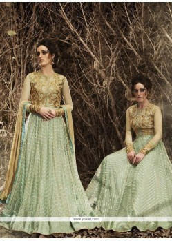 Glorious Sea Green Net Designer Floor Length Suit