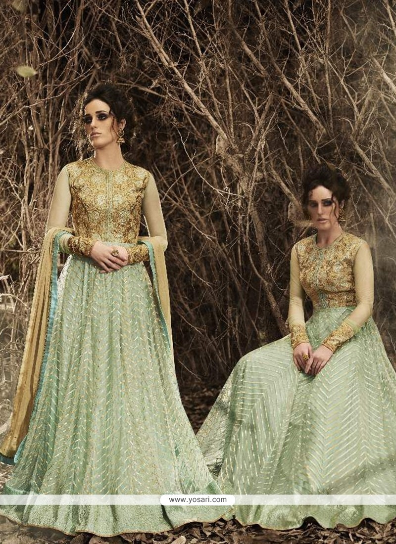 Glorious Sea Green Net Designer Floor Length Suit