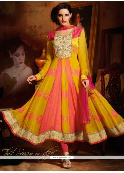 Yellow And Pink Raw Silk Anarkali Suit