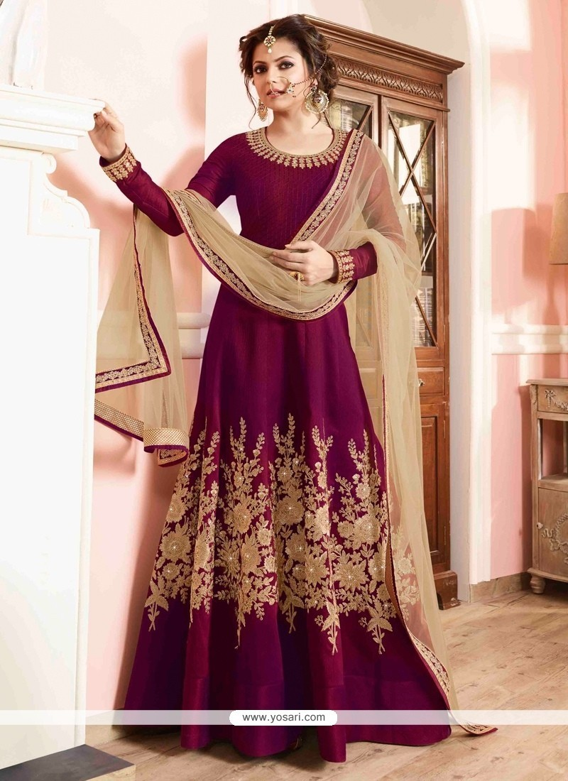Tempting Magenta Designer Floor Length Suit