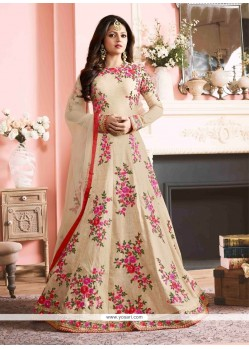 Praiseworthy Silk Print Work Designer Floor Length Suit