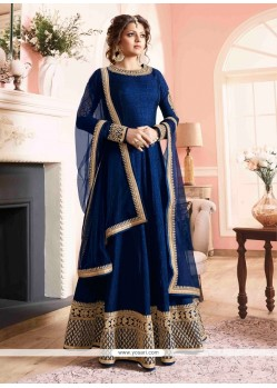 Astounding Silk Print Work Designer Floor Length Suit
