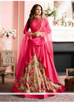 Auspicious Hot Pink Silk Designer Floor Length Suit