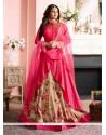 Auspicious Hot Pink Silk Designer Floor Length Suit