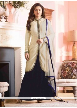 Exciting Off White Designer Floor Length Suit