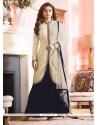 Exciting Off White Designer Floor Length Suit