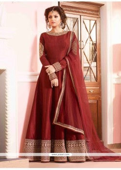 Mesmerizing Maroon Silk Designer Floor Length Suit