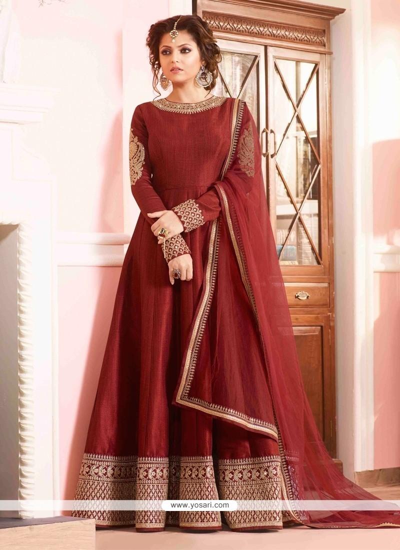 18079e414e Buy Mesmerizing Maroon Silk Designer Floor Length Suit | Anarkali Suits