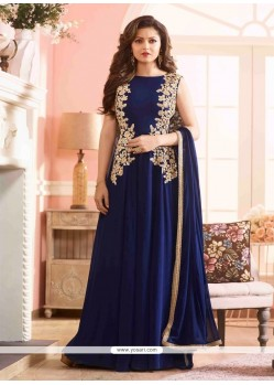 Desirable Navy Blue Georgette Designer Floor Length Suit