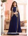 Desirable Navy Blue Georgette Designer Floor Length Suit