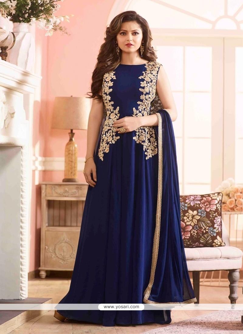 b399c0eb3c8 Buy Desirable Navy Blue Georgette Designer Floor Length Suit ...