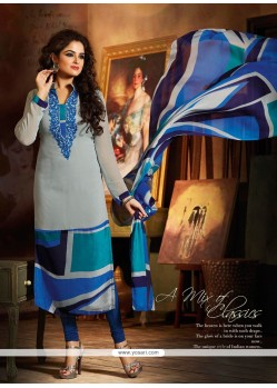 Grey And Blue Georgette Churidar Suit