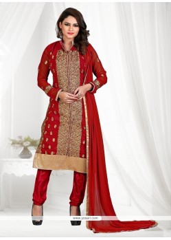 Versatile Red Lace Work Georgette Churidar Suit