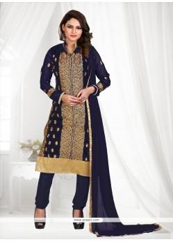 Prime Georgette Navy Blue Embroidered Work Churidar Suit
