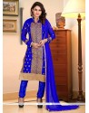 Capricious Embroidered Work Blue Georgette Churidar Suit