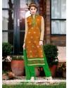 Stunning Lace Work Chanderi Orange Churidar Suit