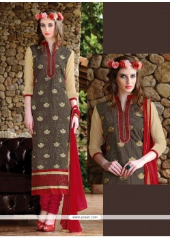 Delightful Brown Churidar Suit