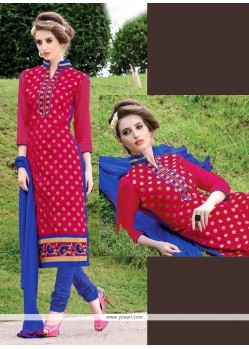 Invigorating Lace Work Chanderi Hot Pink Churidar Suit