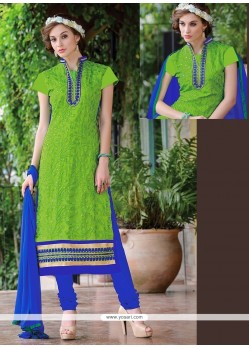 Exceeding Lace Work Chanderi Green Churidar Suit