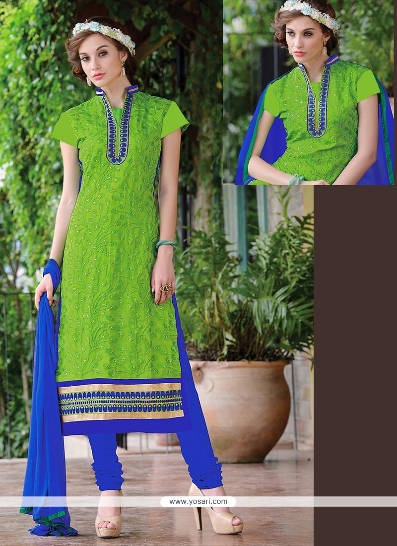 Exceeding Lace Work Chanderi Green Churidar Suit