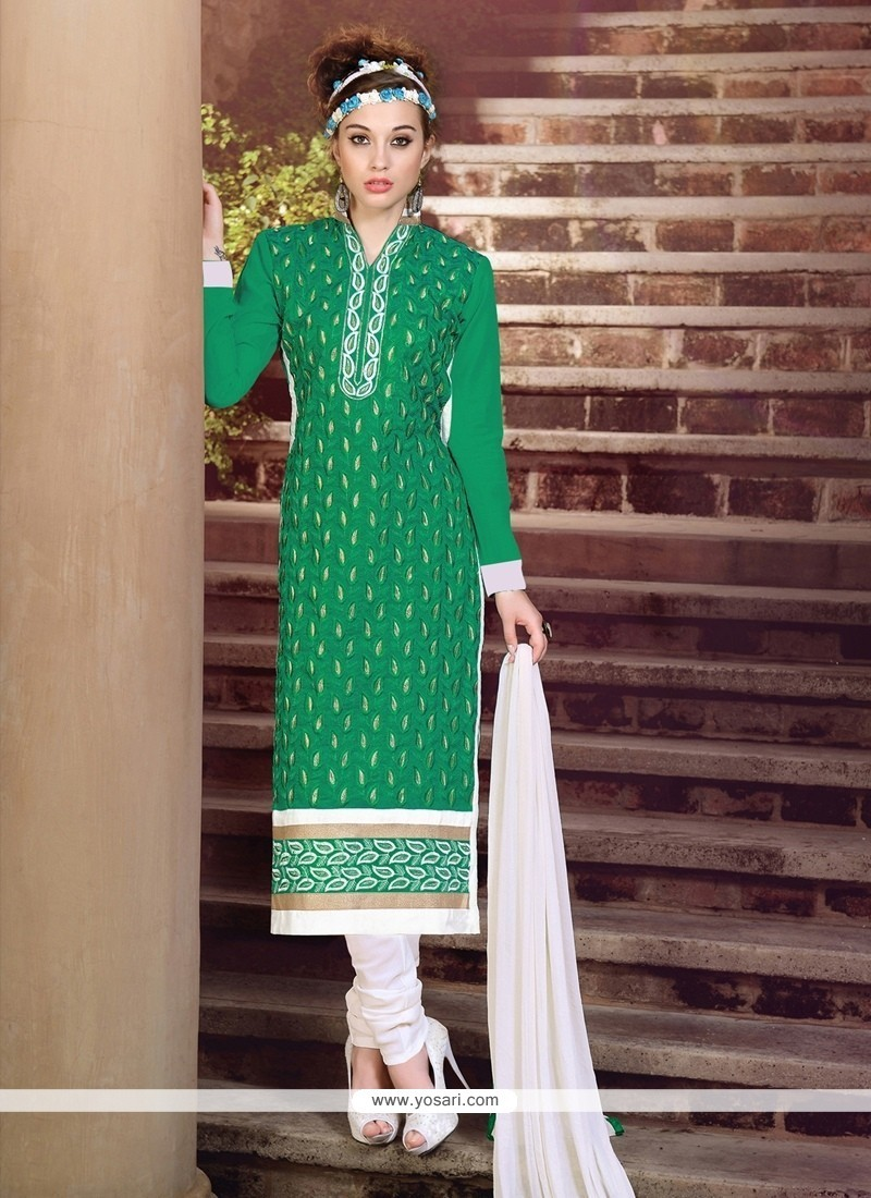 Staggering Embroidered Work Churidar Suit