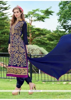 Spellbinding Chanderi Navy Blue Lace Work Designer Suit