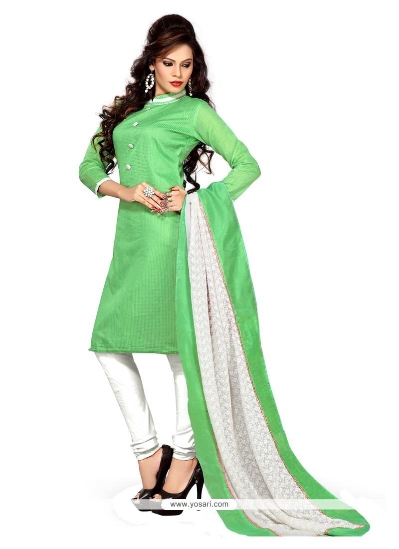 Pleasance Lace Work Chanderi Churidar Suit