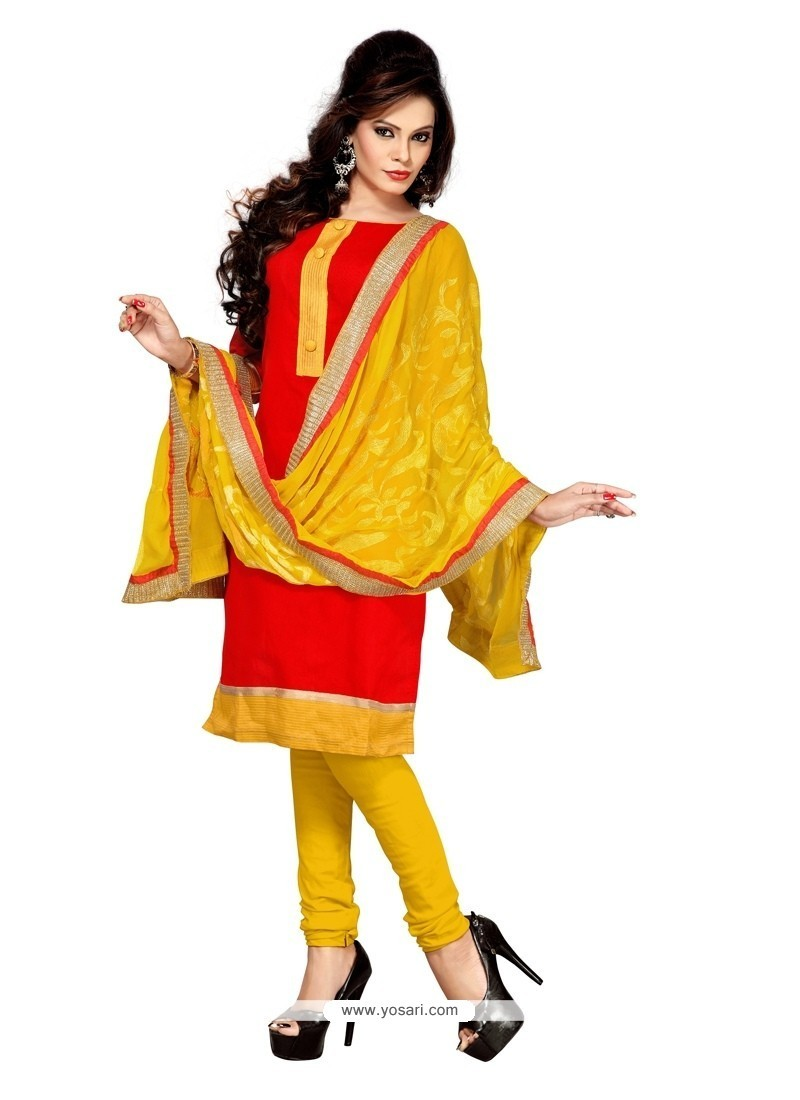 Angelic Lace Work Red Chanderi Churidar Suit