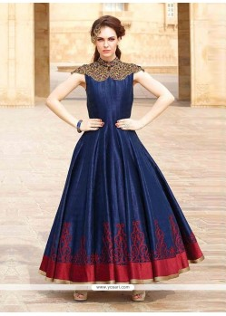 Navy Blue Art Silk Embroidered Work Designer Gown