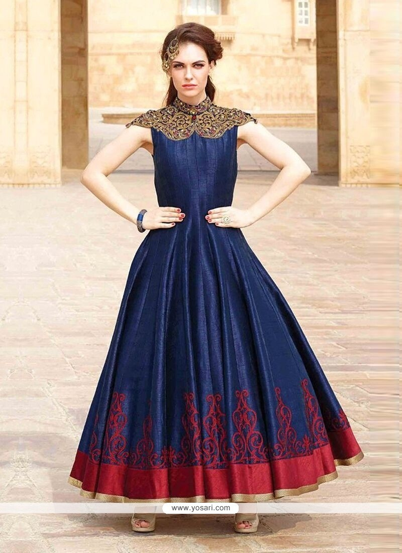 Buy Navy Blue Art Silk Embroidered Work Designer Gown | Gowns