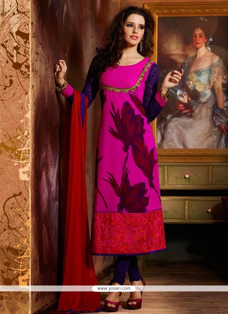 Hot Pink Chiffon Churidar Salwar Kameez