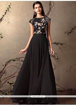 Excellent Black Resham Work Designer Gown