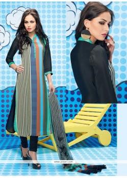 Scintillating Print Work Churidar Designer Suit