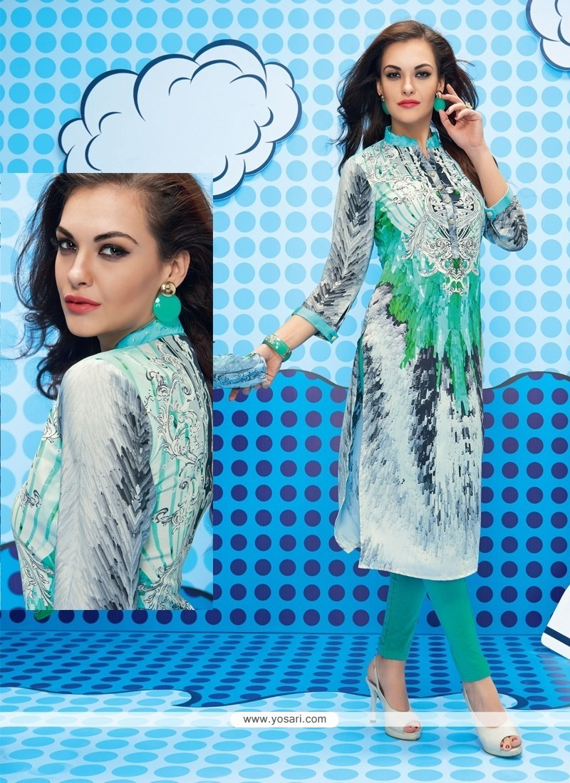 Charismatic Faux Crepe Green And Grey Churidar Designer Suit