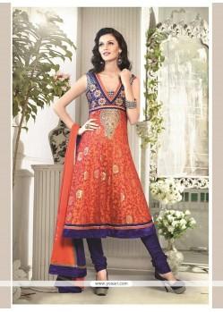Vivid Chanderi Cotton Orange Embroidered Work Readymade Suit