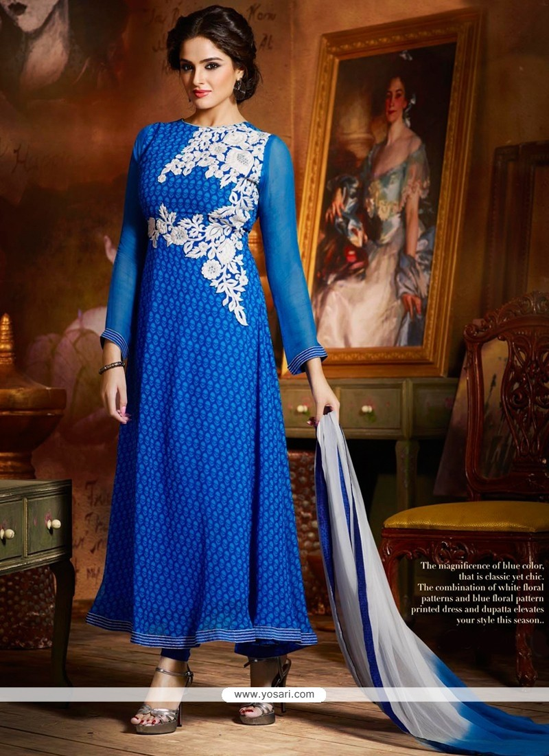 Glorious Blue Chiffon Anarkali Suit