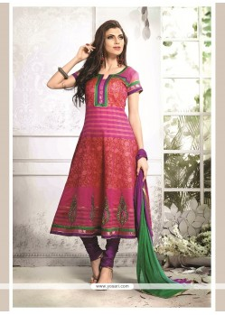 Amazing Chanderi Cotton Multi Colour Embroidered Work Readymade Suit