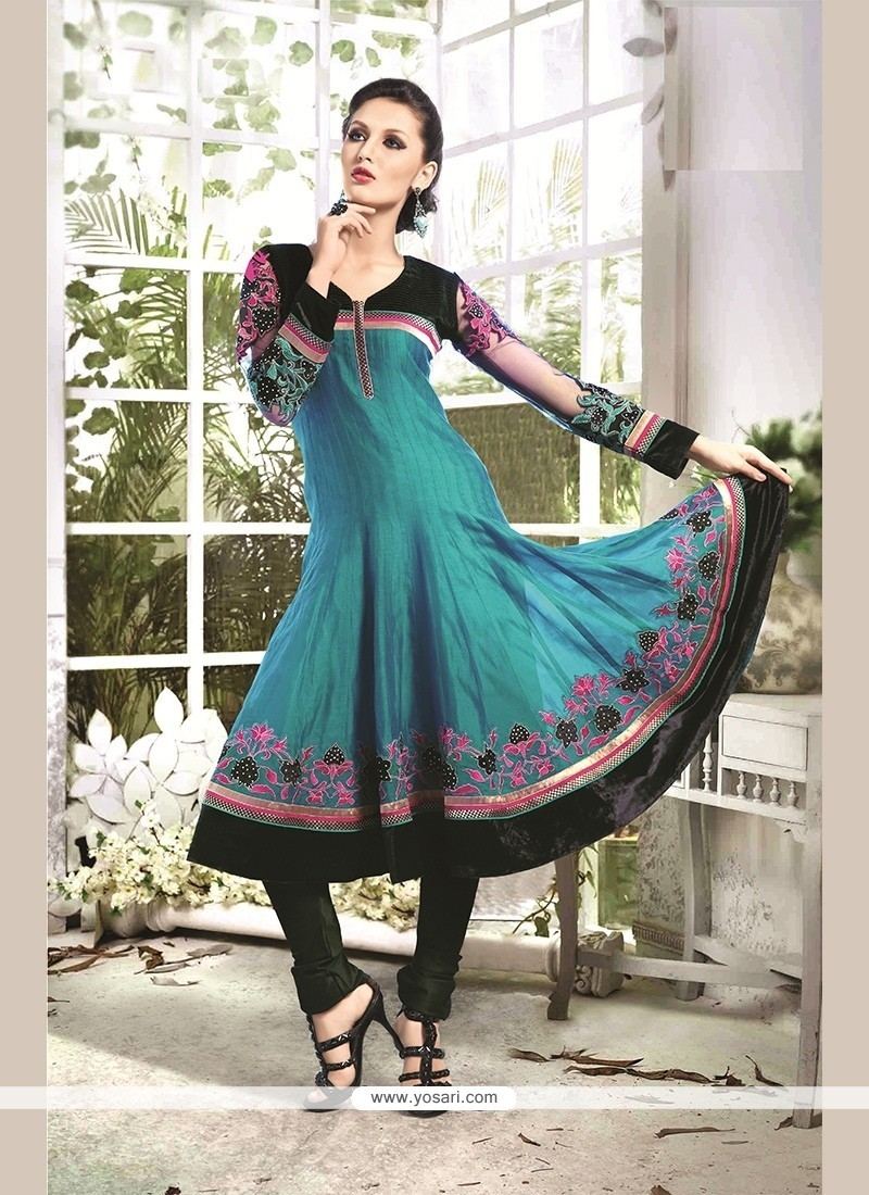 Thrilling Chanderi Cotton Blue Readymade Suit