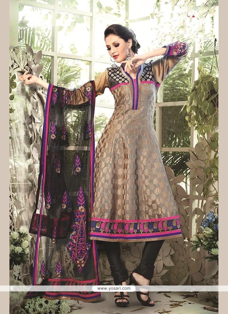 Stylish Chanderi Cotton Beige Readymade Suit