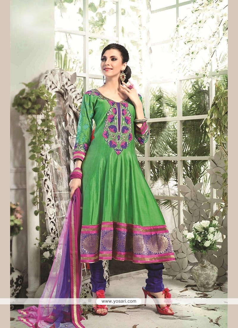 Transcendent Chanderi Cotton Green Patch Border Work Readymade Suit