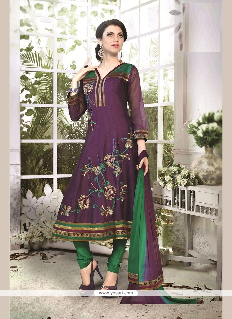 Appealing Chanderi Cotton Embroidered Work Readymade Suit