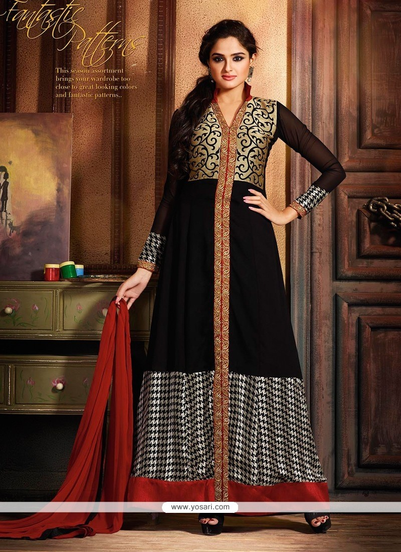 Amazing Black Georgette Anarkali Suit