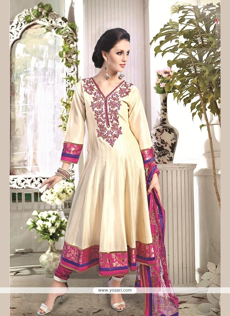 Gratifying Chanderi Cotton Embroidered Work Readymade Suit
