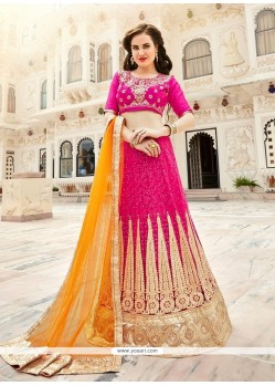 Orphic Hot Pink Patch Border Work Lehenga Choli