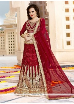 Adorning Maroon Embroidered Work Net Lehenga Choli